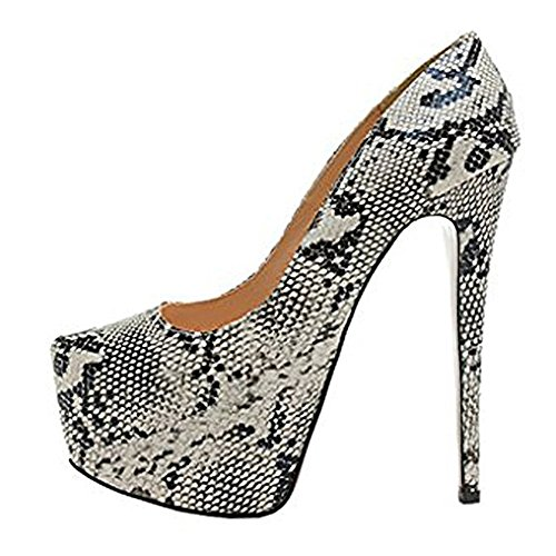 onlymaker Womens Sexy Platform High Heels Slip On Pointed Toe Stiletto Party Dress Pump Snakeskin PU 9 M US (Snake Stiletto)