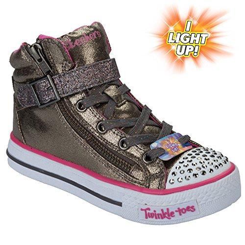 Skechers Kids Heart & Sole Light Up Sneaker,Gunmetal,11.5 M