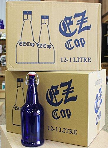 32 oz. EZ Cap Cobalt Blue Glass Beer Bottles-2PK