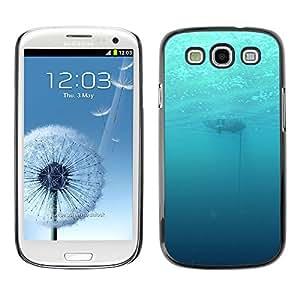 KLONGSHOP // Cubierta de piel con cierre a presión Shell trasero duro de goma Protección Caso - Profundo Submarino Océano - Samsung Galaxy S3 //