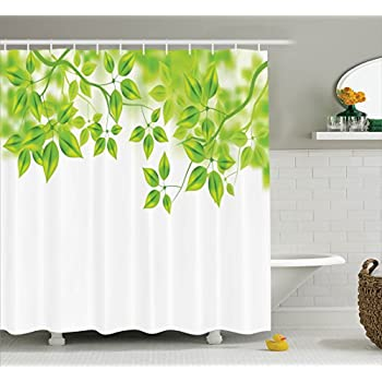 Leaves Decor Shower Curtain Set By Ambesonne Freshening Background With Vibrant In The Spring