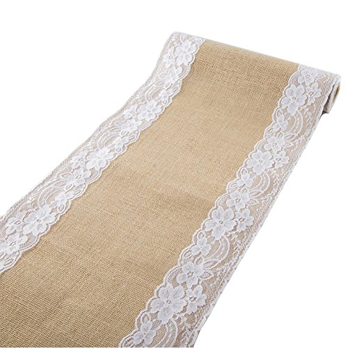 Rajahubri Burlap Lace Hessian Table Runner 12x70 Inch TableRunner Premium Quality Runner Party Supplies for Rustic Natural Jute Country Wedding Birthday Baby Shower ()