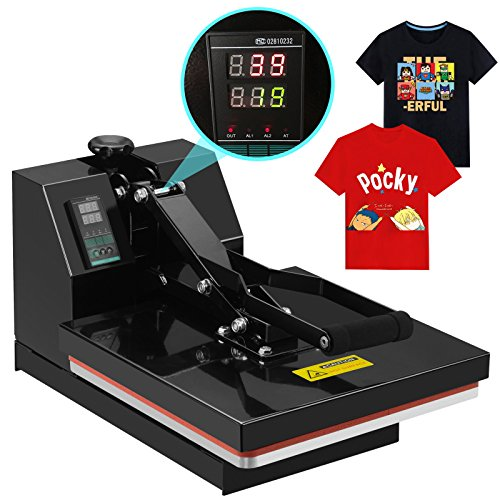 SUNCOO 4 in 1 Digital Clamshell High Pressure Heat Press Machine Transfer Sublimation for T-Shirt/Mug/Hat /Plate/Cap 15 x 15 by SUNCOO