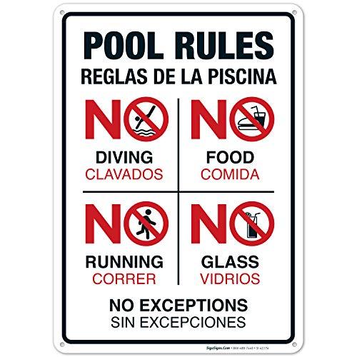Amazon.com: Letrero de reglas de piscina, sin buceo, sin ...