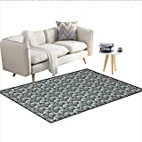 Floor Mat,Damask Shapes Motif Western Modular Leaves and Rayon...
