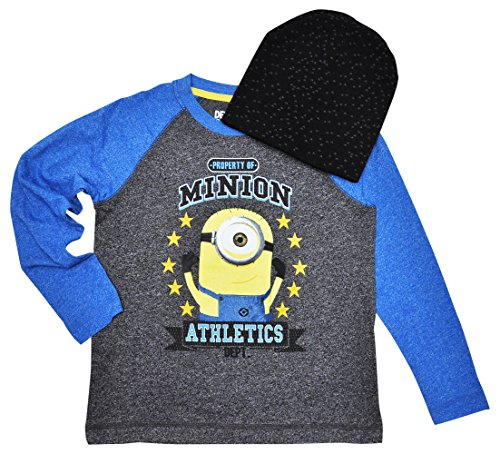 Minions Boys T-shirt & Knit Beanie Hat 2pc Set Long Sleeves Athletics (Medium)