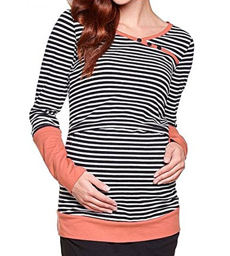 BEAdressy Women Double Layer Striped Print Long Sleeve Maternity Breastfeeding and Nursing Tops (M, Orange)