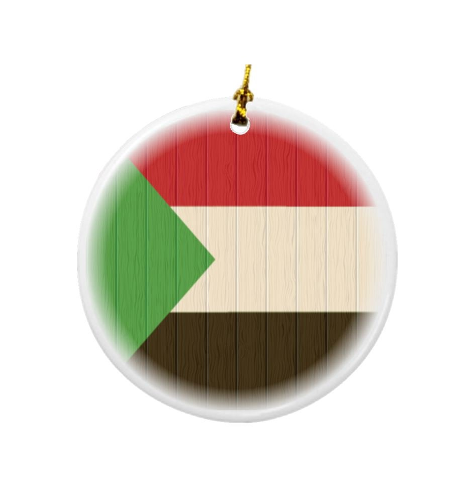 Rikki Knight Sudan Flag on Distressed Wood Design Round Porcelain Two-Sided Christmas Ornaments