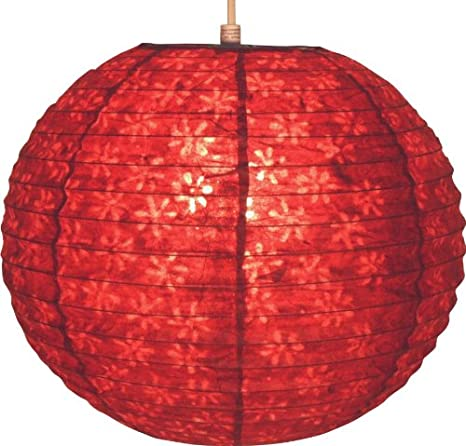 Guru-Shop Abat-jour Rond en Papier Lokta, Lampe Suspendue Corona Ø 30 cm, Rouge, DupapierLokta, Couleur : Rouge, Plafonniers Asiatiques Lampes en Tissu de Papier