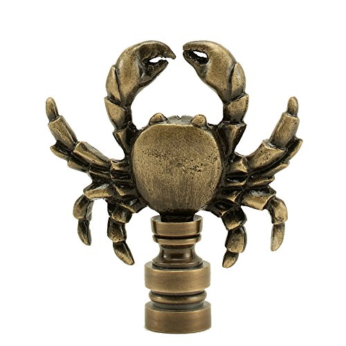 Antique Brass Crab Finial 2.35'' Tall Vintage Gold Look Shade Topper Animal Theme Marine Life Chesapeake Bay Blue Crabs by Bethesda Design, LLC