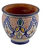 Flower Pot Moroccan Spanish Garden Drain Hole Ceramic Planter Handmade Multicolored