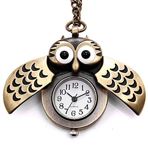 LightOnIt Cute Owl Pocket Watch Pendant Necklace for Boys Girls Kids Gift (Costume Pocket Watch)
