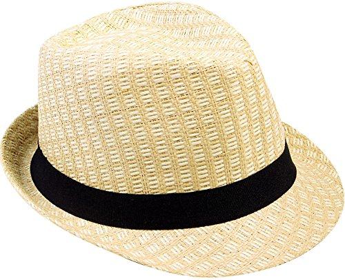 Verabella Summer Fedora Womens Fedora Men's Short Brim Straw Sun Hat,Beige,LXL