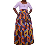 Women's African Print Pockets Maxi High Waist Skirts Full-Length Pleated A-Line Skirt 1904# L/XL