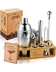 RhinoRoo 11 Piece Cocktail Shaker Set - Premium Quality Stainless Steel Bartender Kit with Bamboo Stand and Travel Bag - Create Perfect Drinks at Home with Exclusive Australian Cocktail Recipe Cards