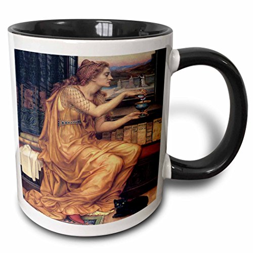 Morgan Portrait - 3dRose BLN Portraits of Women Through Time Fine Art Collection - The Love Potion by Evelyn de Morgan - 15oz Two-Tone Black Mug (mug_149548_9)