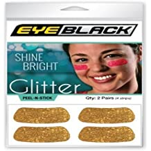 Gold Glitter Eye Black Strips, Perfect for Game Day and Tailgate (2 Pairs)