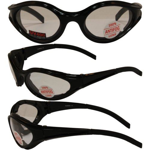 3 Black Frame Motorcyle Biker Riding Glasses Sunglasses Padded Clear Smoke Yellow Lens MSRP for This Set Is $48.00 They Have Shatterproof Polycarbonate Lenses With UV400 Filter And Double-Sided Anti-Fog - Is Sunglasses Also Called