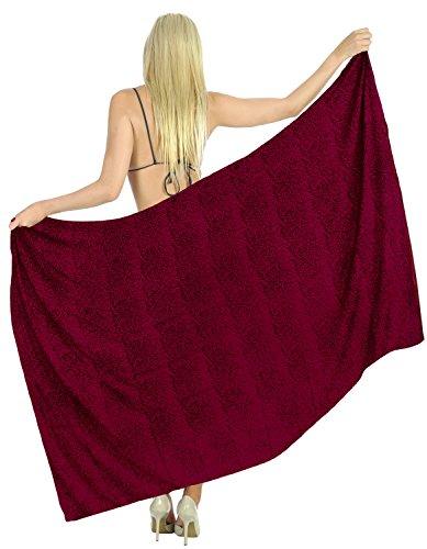 La Leela rayón bloque Anthemion falda pareo étnica bikini de las mujeres 78x39 pulgadas Rojo