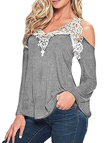 KOINECO - Camiseta de manga larga - para mujer gris