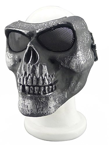 YX Metallic Mask For Bicycling/ Halloween/ Skull Skeleton/ Airsoft/ Paintball/ BB Gun, A Full Face Protection Mask Shot (Skeleton Halloween Mask)