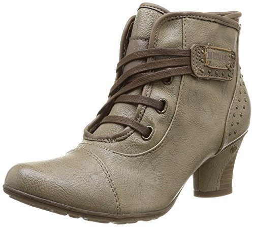 Marrón 318 Mujer taupe Botas Stiefelette Mustang Schnür qXwtIH1