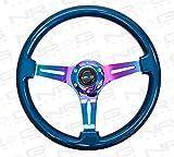 NRG -Classic Blue Pearl Wood Grain Steering Wheel 350mm w/ 3 NeoChrome Spokes