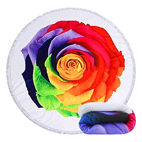 Feelingjoy Thick Round Beach Towel Blanket Colorful Rose Flower Large Microfiber Terry Beach Roundie Tapestry Circle Yoga Mat Picnic Carpet Tablecloth with Fringe 59 inch