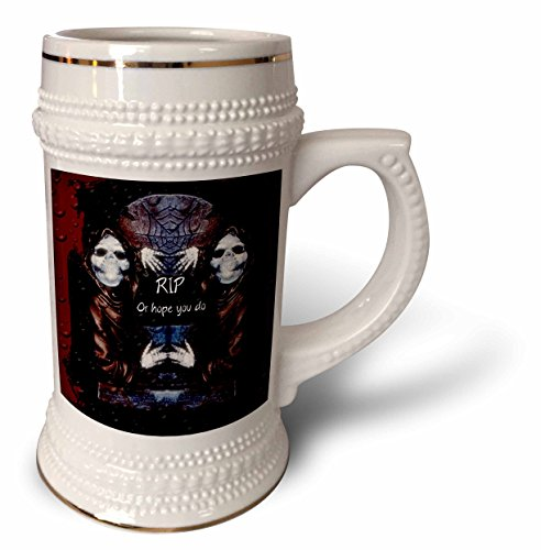 (ET Photography - Halloween Designs - Grim reaper with tombstone and Halloween saying - 22oz Stein Mug)