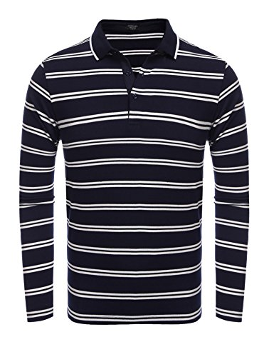 Coofandy Men's Mini Striped Long Sleeve Polo T Shirt (Small, Navy Blue(long sleeve)) (Blue Mini Striped)