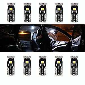 XSPEED 194 168 2825 W5W T10 Extremely Bright 3030 Chipsets LED Bulbs For Car Interior Dome Map Side Door Courtesy License Plate Lights Trunk Light Compact Wedge Xenon White (Pack of 10)