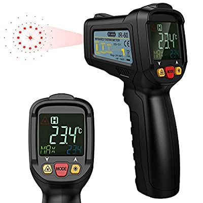 Dr.meter FDA Approved Non-Contact Digital Laser IR Infrared Thermometer Temperature Gun,With Full View Color LCD Backlit Display ,12 Point Aperture Temperature Alarm Function,-58? - 1022?,IR-60
