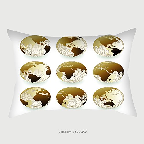 Custom Satin Pillowcase Protector Vector Set Of World Icons 11561554 Pillow Case Covers Decorative by chaoran