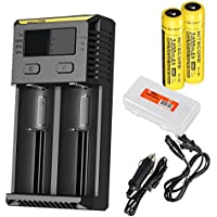 Nitecore i2 2016 Edition Intellicharger Charger with 2x 3400 mAh 18650 Batteries, Car Adapter & Battery Organizer - Compatble with 26650 18650 17500 16340 (RCR123) 14500 etc