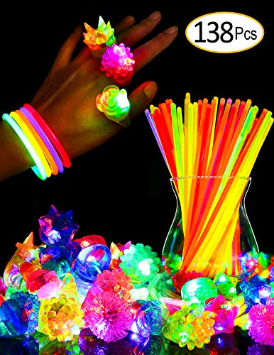 SIONE 138 Pack Glow Sticks Bulk Light Up Rings Party Favor for Kids Glow in The Dark Party Supplies 38 Flashing Glow Rings+100 Glow Sticks]()