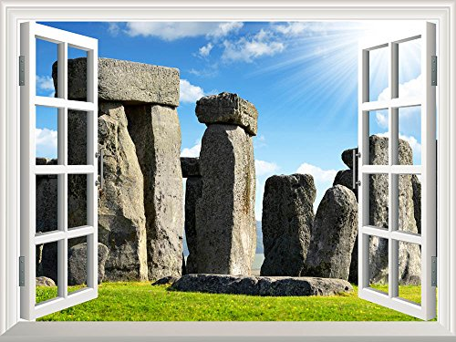 Removable Wall Sticker Wall Mural Historical Monument Stonehenge England Uk Creative Window View Wall Decor