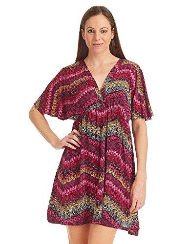Johnny Womens Short Sleeve Kimono Style Dress Top  Wdr1212_yellow_magenta ()