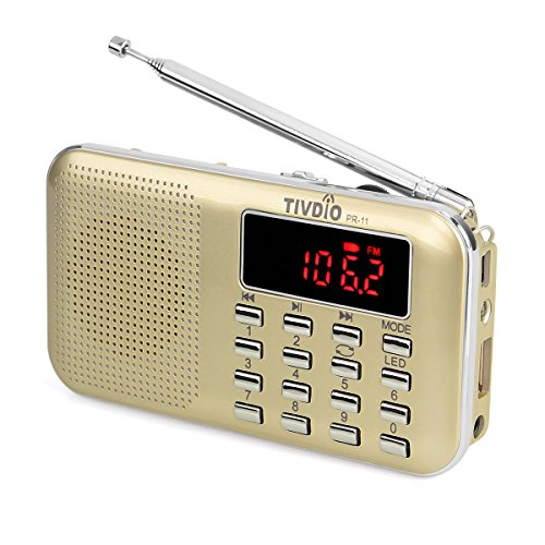 TIVDIO PR11 Am Fm Radio Portable Rechargeable Transistor Radios Small with Headphone Jack Mp3 Music Player Speaker Support Micro IF Card (Gold) by TIVDIO