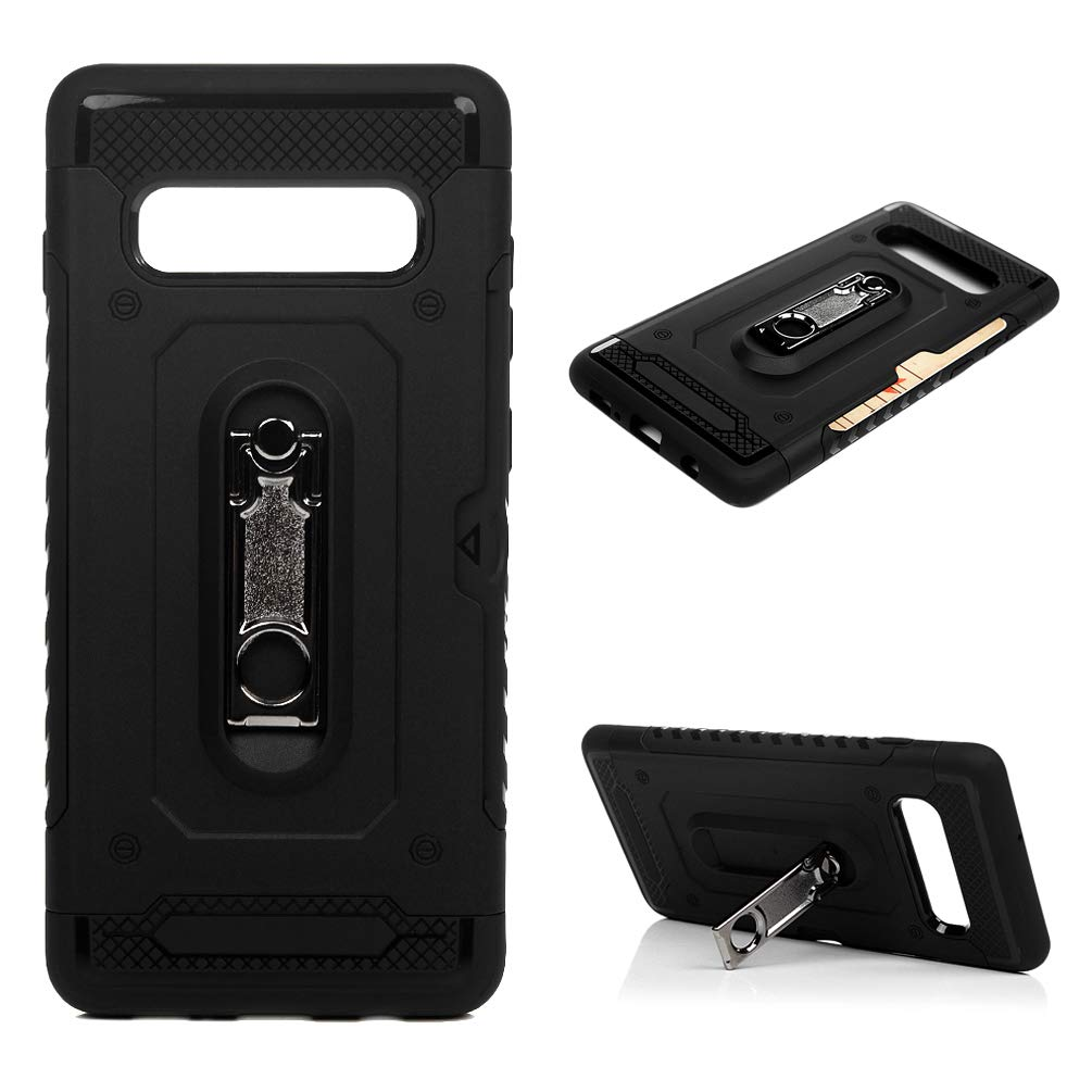 Galaxy S10 Plus Case, Hybrid Rugged Heavy Duty Shock Absorption Drop Resistant Card Slot 360 Rotating Kickstand Shockproof TPU Bumper PC Shell Slim 2 in 1 Cover for Samsung Galaxy S10+ - Black