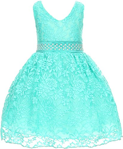 Dye Cami (Flower Girl Dress V Neck Accented Spendax Lace for Baby & Infant Mint 6M)