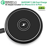iPhone X Fast Wireless Charger 7.5W, Qi Fast Wireless Charging Pad for iPhone X/8/8P/Sumsung S8/S8 P/S7/ S7 EDGE/Note 8/S6/S6 EDGE/Note 5 (QC3.0 ADAPTER Included)