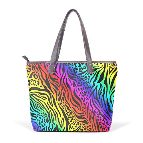 Women's Leather Handbags Top Handle Bags Rainbow Animal Zebra Print Totes Shoulder Handbag ()