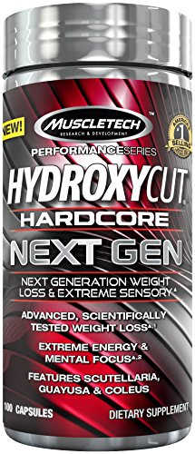 MuscleTech Hydroxycut Hardcore Next Gen, Next Generation Weight Loss & Extreme Sensory, 100 Capsules