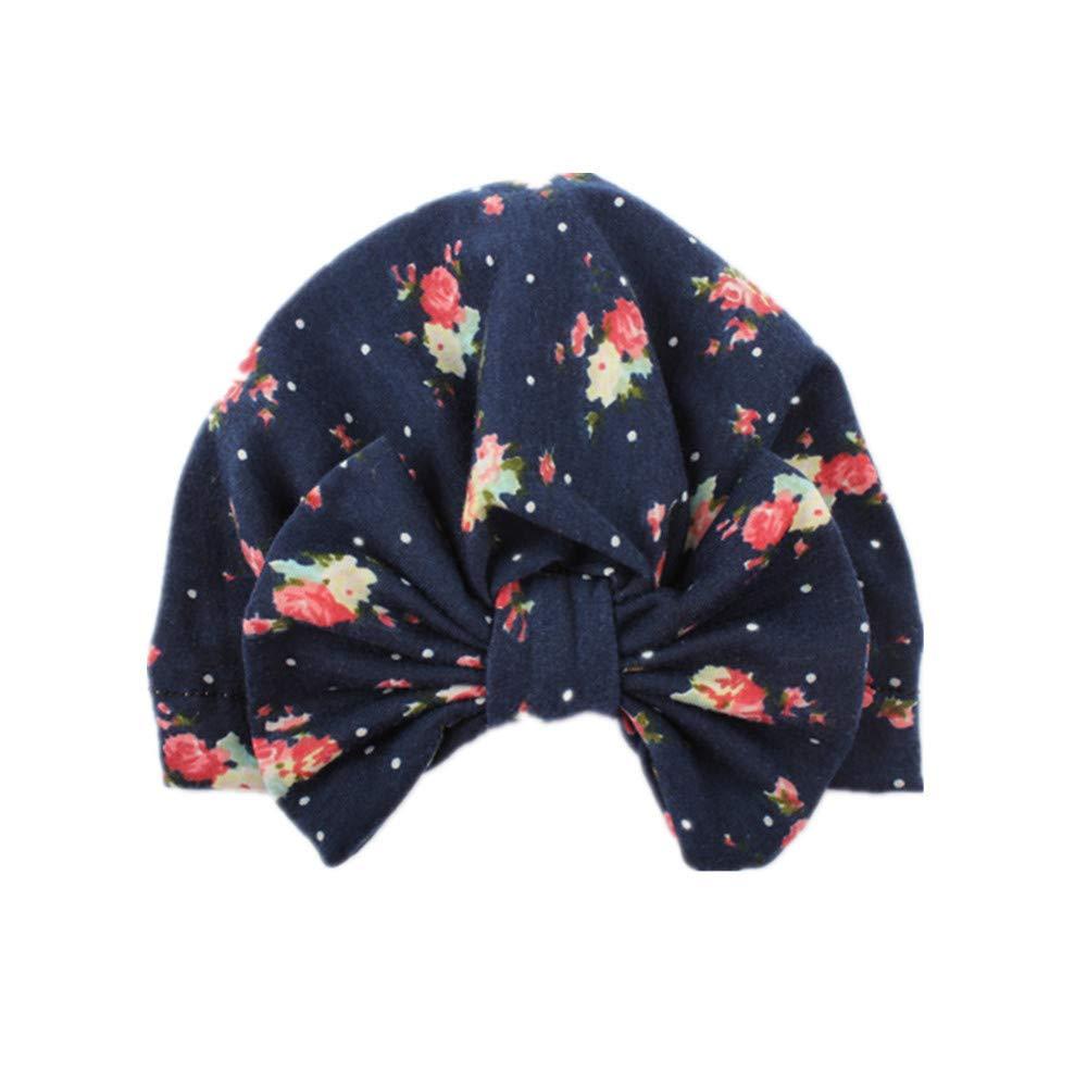 750c79613ace Bebe Fille Bonnet Nœud Turban Floral Motif Bonnet Chaud Hiver Bébés 3 Mois  - 6 Ans  (A ) ...