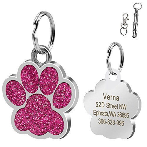 Didog Large Glitter Paw Print Custom Pet ID Tags for Medium Large Dogs and Cats,Personalized Egraving,Pink