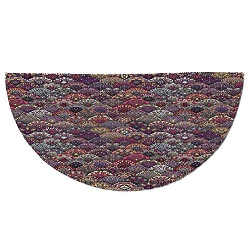 Cheap  Half Round Door Mat Entrance Rug Floor Mats,Moroccan,Colorful Vintage Floral Mandala Hexagonal..