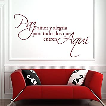 Espanol Wall Decal Spanish Vinyl-¡Pay Amor Y Alegria ¡¯-Pay Love