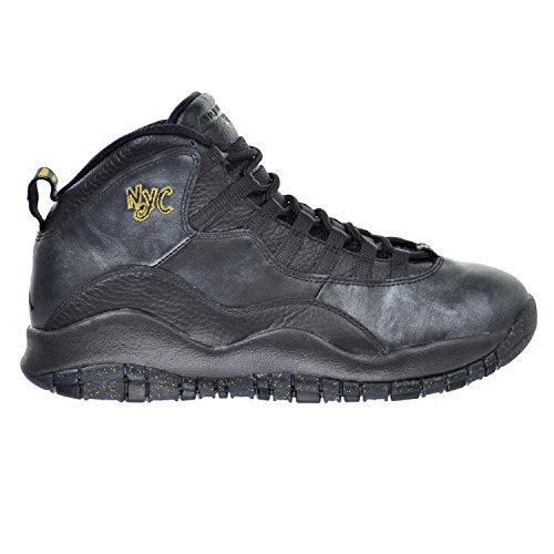 Jordan Nike Mens Air Retro 10 Scarpa Da Basket Nero / Grigio Scuro / Oro Metallizzato