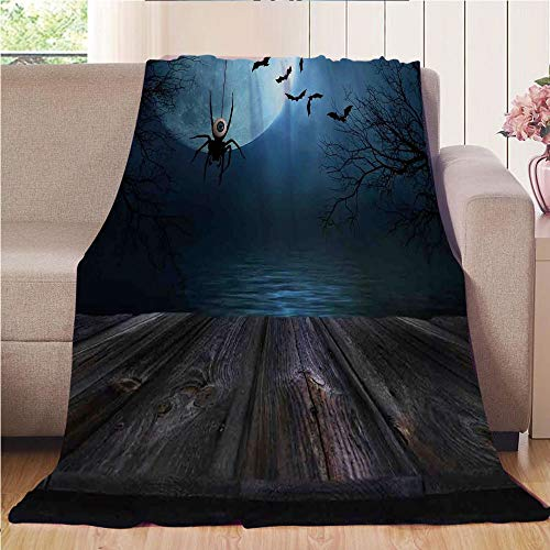 Blanket Comfort Warmth Soft Cozy Air Conditioning Fleece Blanket Perfect for Couch Sofa Or Bed,Halloween Decorations,Misty Lake Scene Rusty Wooden Deck Spider Eyeball and Bats Moonlight,Blue -