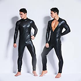 - 512K9J0jD 2BL - Men's Wet Look PVC Leather Bodysuit Zentai Like Zipper Catsuit Jumpsuit Costumes